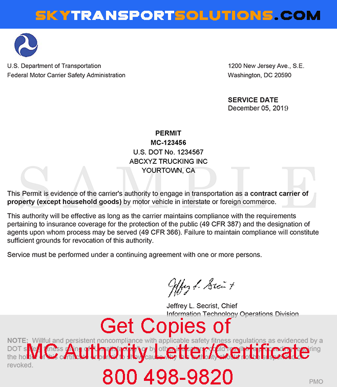 MC Authority Letter